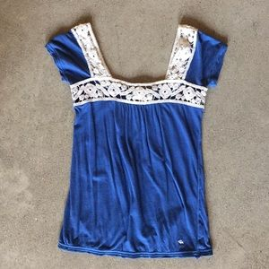 Blue With White Laced Accents Abercrombie Tank